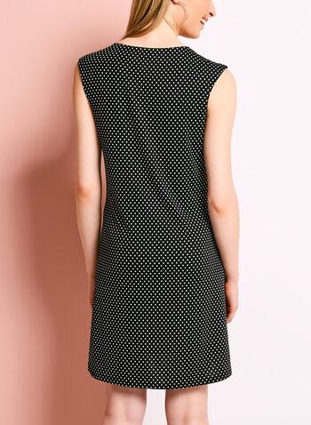 Scoop Neck Dot Print Trapeze Dress, , hi-res