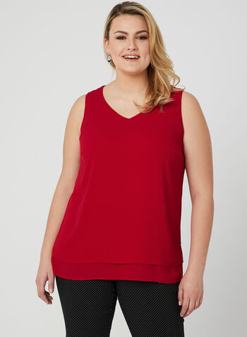 Sleeveless V Neck Crepe Blouse, Red, hi-res,