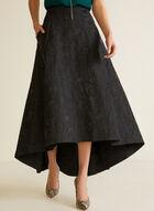 Floral Jacquard High Low Skirt, Black