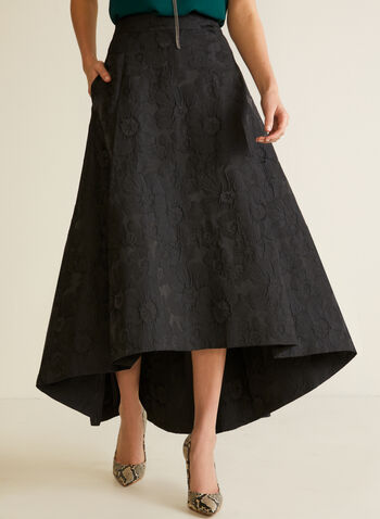 Floral Jacquard High Low Skirt, Black,  fall winter 2020, skirt, floral, jacquard, textured, wavy, high low