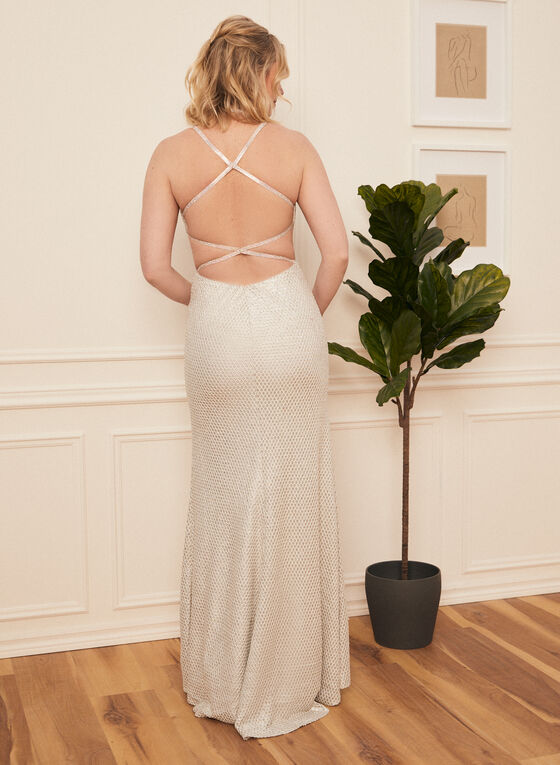 Glitter Mermaid Dress, White