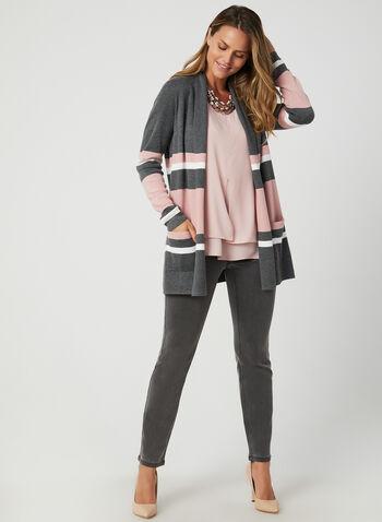 Stripe Print Open Front Cardigan, Grey,  cardigan, open front, knit, long sleeves, stripe print, pockets, fall 2019, winter 2019