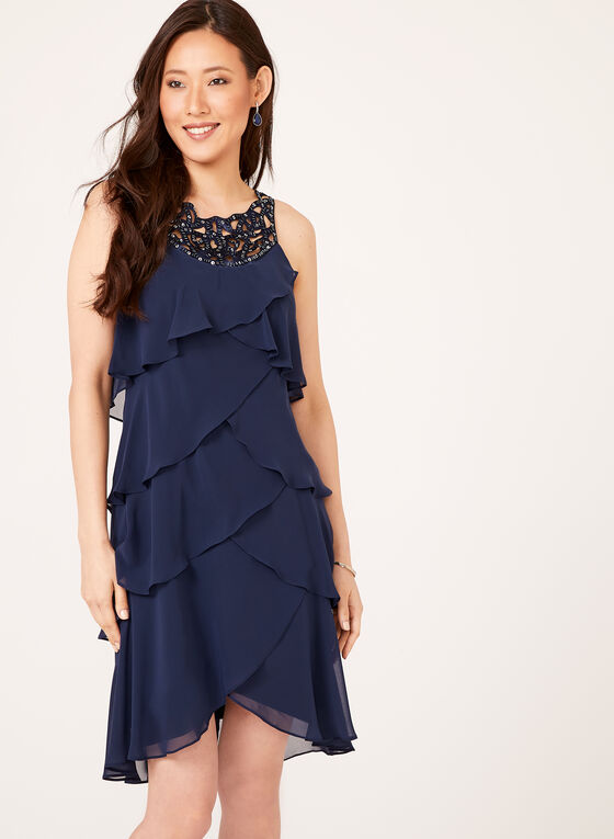 Beaded Yoke Tiered Chiffon Dress, Blue, hi-res