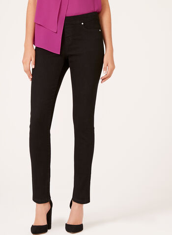 Modern Fit Slim Leg Pull-On Jeans, Black, hi-res