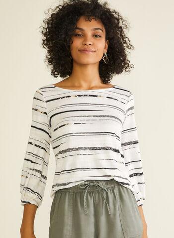 Stripe Print Balloon Sleeve Top, White,  top, balloon sleeve, stripe print, textured, knit, boat neck, 3/4 sleeves, spring summer 2020