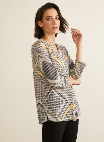 Scarf Print Shirt, Orange,  top, t-shirt, scarf print, printed top, button front, spring 2020, summer 2020