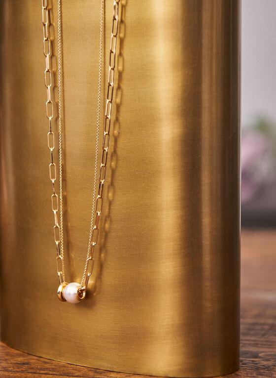 Collier à maillons et pendentif en perle , Blanc cassé