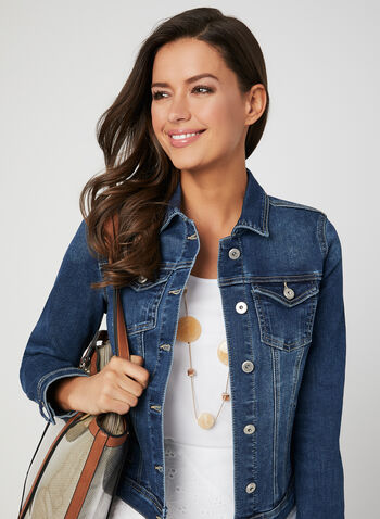 Stretchy Jean Jacket, Blue, hi-res,  denim, buttons, stretchy, cotton, spring 2019
