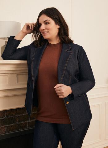 Veste style tailleur en denim, Bleu,  printemps été 2021, veste, tailleur, denim, manches longues, boutons, col cranté, surpiqûres