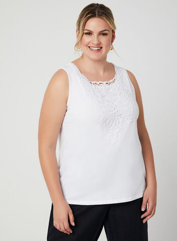 Sleeveless Lace Neck Top, White, hi-res,  tank top, lace, sleeveless, cotton, spring 2019, summer 2019