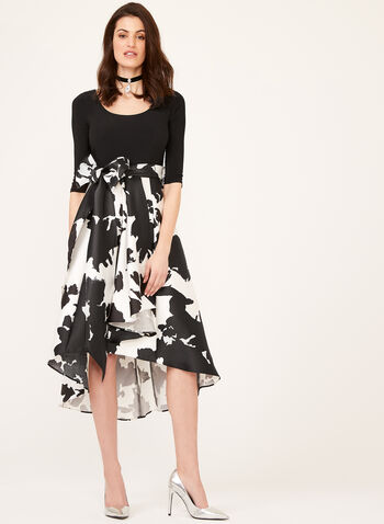 Abstract Print Fit & Flare Dress, Black, hi-res