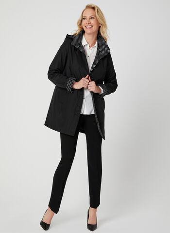 Fennelli - Manteau droit à doublure pois, Noir, hi-res,  manteau, col claudine, pois, manches longues, capuchon amovible, printemps 2019