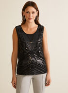 Sleeveless Sequin Top, Black