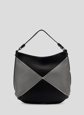 Colour Block Hobo Bag, Grey, hi-res