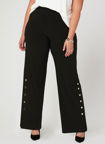 Button Trim Wide Leg Pants, Black, hi-res