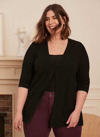 Single-Button Rib Knit Cardigan, Black,  cardigan, rib knit, ribbed, stretchy, button, 3/4 sleeves, v-neck, spring summer 2021