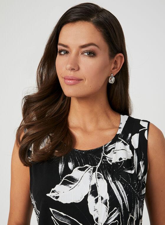 Robe à effet drapé et motif floral, Noir