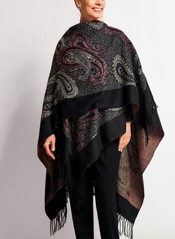 Poncho style pashmina à motif cachemire et franges, Violet, hi-res
