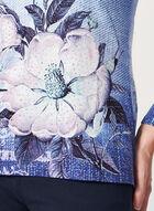 Haut fleuri à manches longues et strass, Bleu, hi-res