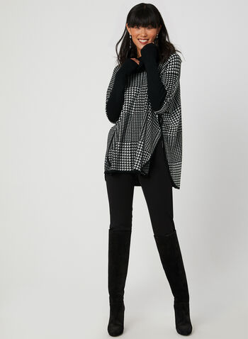 Houndstooth Poncho Sweater, Black,  poncho, long sleeves, ribbed, knit, cowl neck, fall 2019, winter 2019