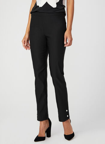 Pearl Embellished Slim Leg Pants, Black, hi-res