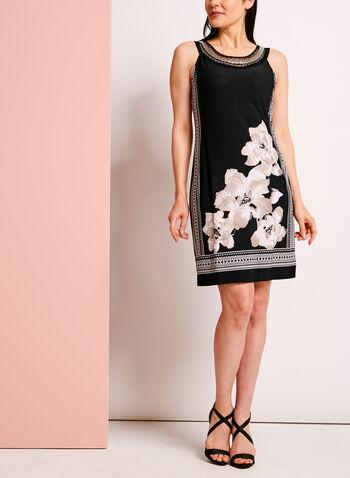 Cleo Neck Embellished Printed Dress, , hi-res