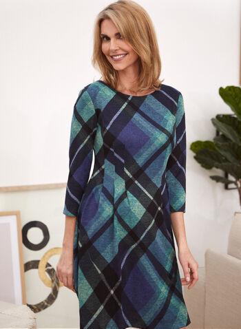 Tartan Print Day Dress, Blue,  day dress, tartan, knit, long sleeves, fall winter 2020