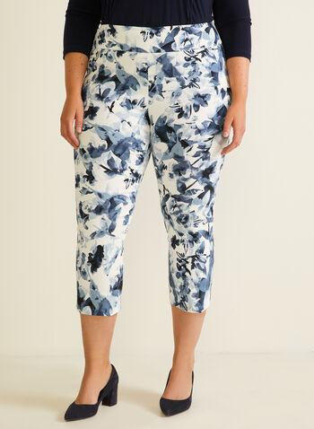Joseph Ribkoff - Floral Print Pull-On Capris, White,  capris, pull-on, floral print, city fit, slim leg, bengaline, hem slits, spring summer 2020