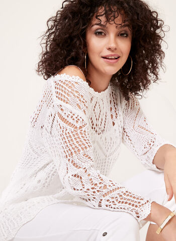 Ness – Crocheted Sweater Cami Set, White, hi-res