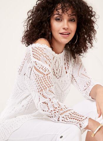 Ness - Pull en crochet à manches ¾ et camisole assortie, Blanc, hi-res