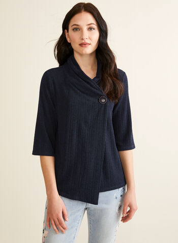 Wrap Style Knit Top, Blue,  top, knit, wrap, asymmetric, 3/4 sleeves, cowl neck, stretchy, spring summer 2020