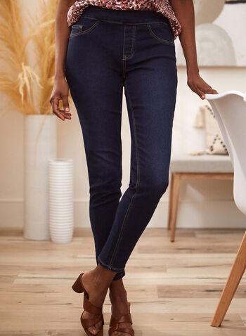 Pull-On Slim Leg Jeans, Blue,  jeans, denim, pull-on, slim leg, spring summer 2021