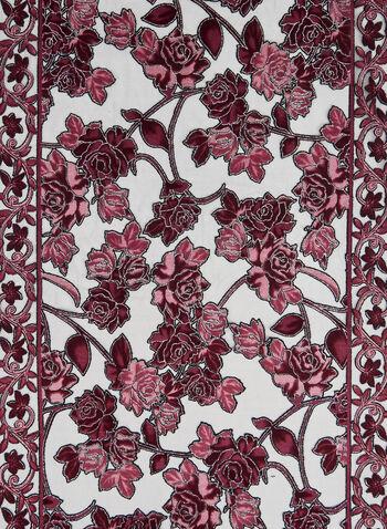 Foulard fleuri à frange longue, Rouge, hi-res,  brillant, brillants, fleurs, motif, motifs, floral, imprimé, imprimés