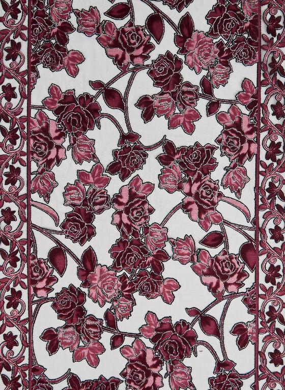 Glitter Rose Print Scarf, Red