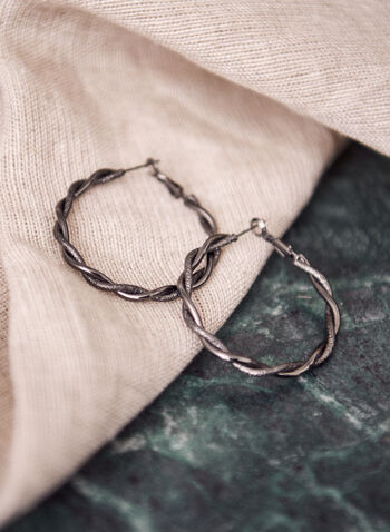Braided Hoop Earrings, Grey,  jewelry, jewellery, earrings, hoops, twisted, textured, smooth, interlinked, silver, accessories, spring summer 2021, braided