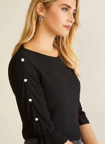 Crepe Smocked Sleeve Blouse, Black,  Fall winter 2020, blouse, crepe fabric, smocked sleeves, pearl, made in canada
