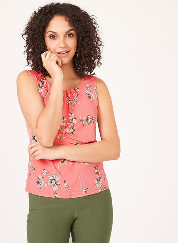 Sleeveless Scoop Neck Top, Orange, hi-res