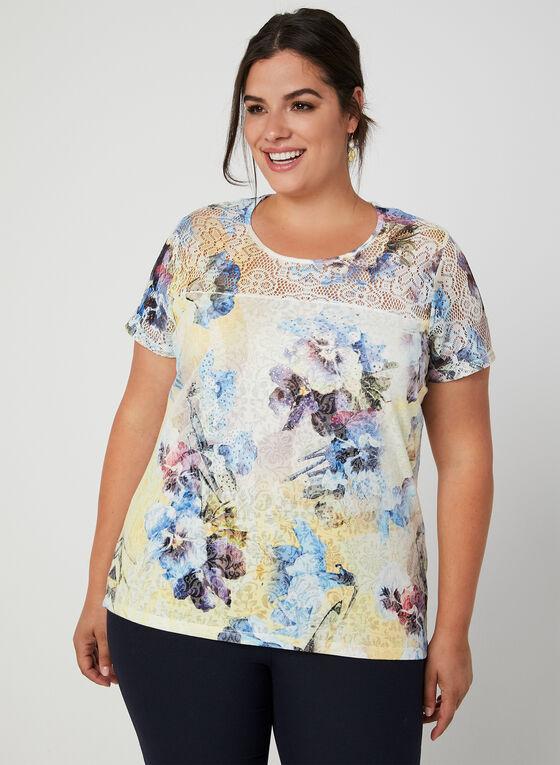 T-shirt fleuri à détail crochet, Bleu, hi-res