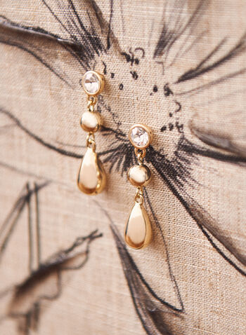 Crystal & Teardrop Earrings, Gold,  jewellery, earrings, accessories, teardrop, ball, metallic, crystal, tiered, spring summer 2021