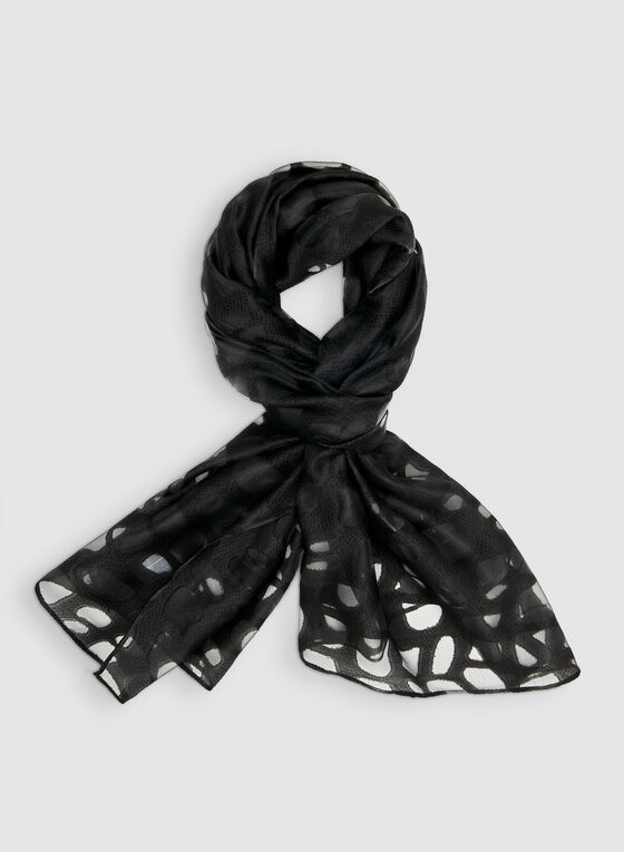 Abstract Print Burnout Scarf, Black