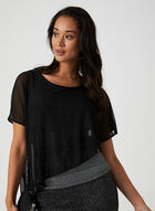 Asymmetrical Poncho Top, Grey, hi-res