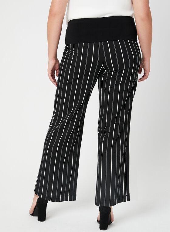Pantalon pull-on rayé à jambe large, Noir, hi-res