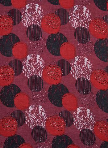 Foulard léger motifs ronds, Rouge, hi-res,  foulard, léger, ronds, franges, automne hiver 2019
