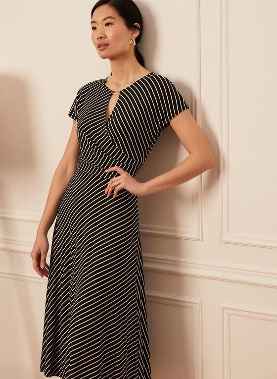 Striped Midi Dress, Black