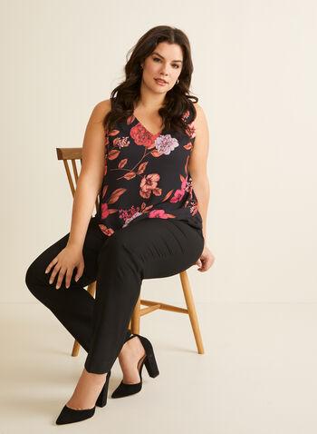 Floral Print Sleeveless Blouse, Black,  top, blouse, sleeveless, floral, crepe, layered, v-neck, spring summer 2020
