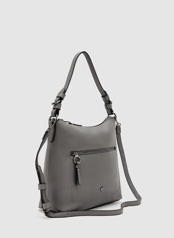 Faux Leather Hobo Bag, Grey, hi-res