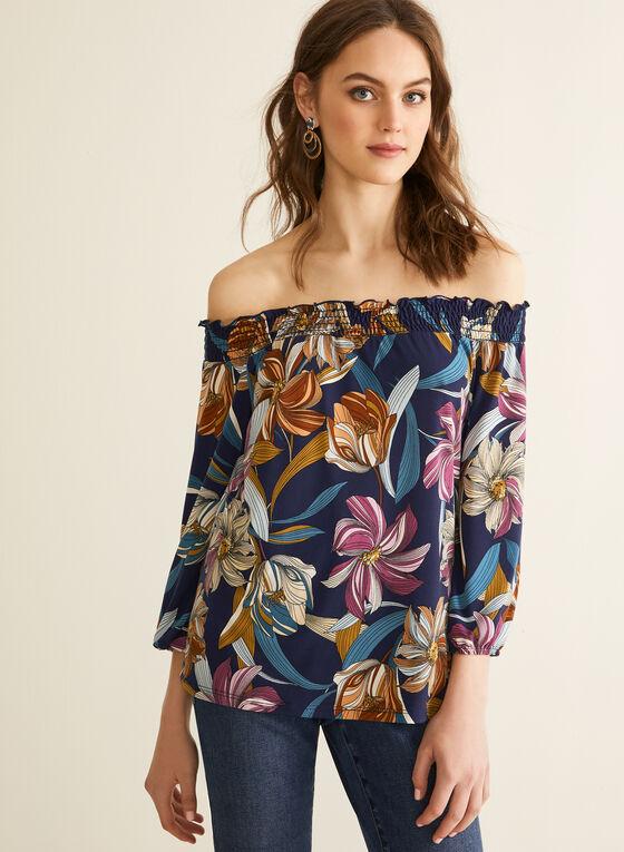 Floral Print Off-The-Shoulder Top, Blue