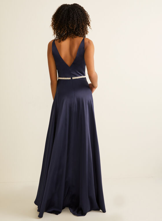 Embellished Satin Gown, Blue