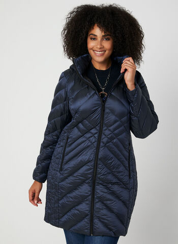 BCBGeneration - Packable Down Quilt Coat, Blue,  coat, quilt coat, down coat, feather, packable coat, zippers, hood, winter 2019, fall 2019