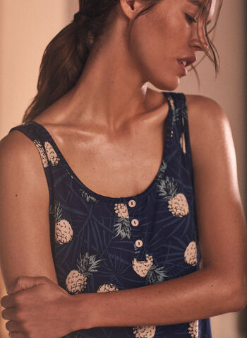Button Detail Tank Nightgown, Blue,  pyjama, pj, sleepwear, nightgown, nightshirt, sleeveless, tank, contrast trim, button detail, comfort, stretch, spring summer 2021, sleep dress, printed